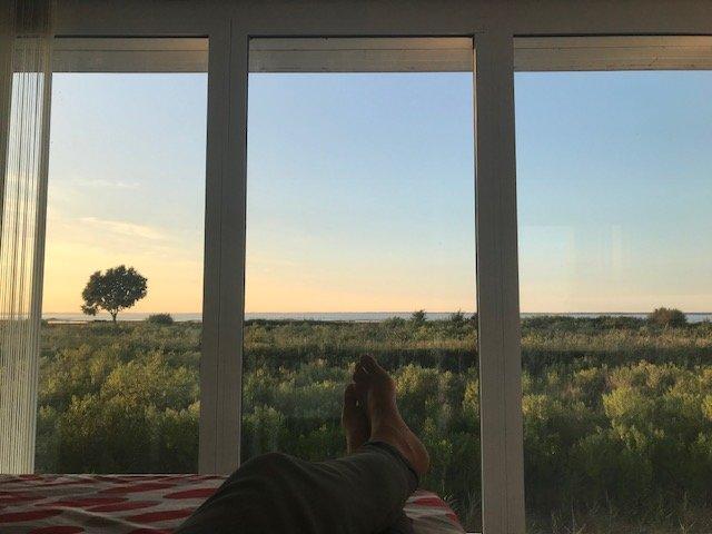 Vista panorámica de la cuenca de Arcachon desde la cama.