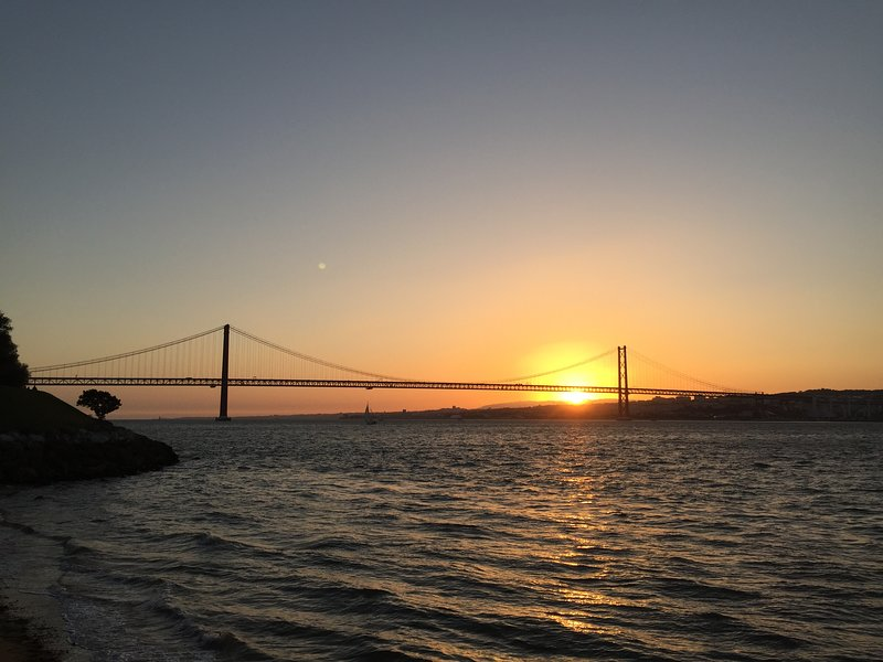 Sunrise view to Lisbon Bridge