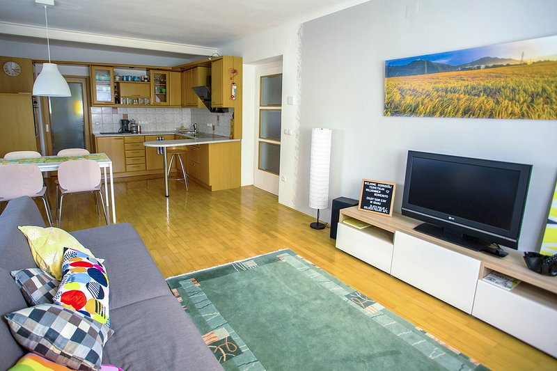 A spacious, bright living room with an open plan fully equipped kitchen with utensils and kitchenwar