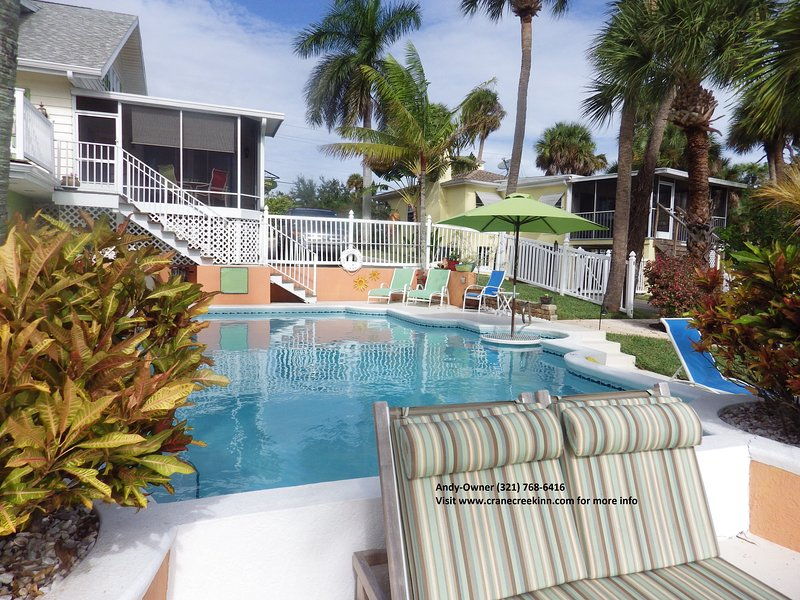 Comfortable seating all around our large, heated pool.