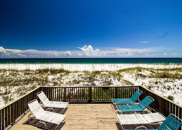 View of the beach from the lower deck