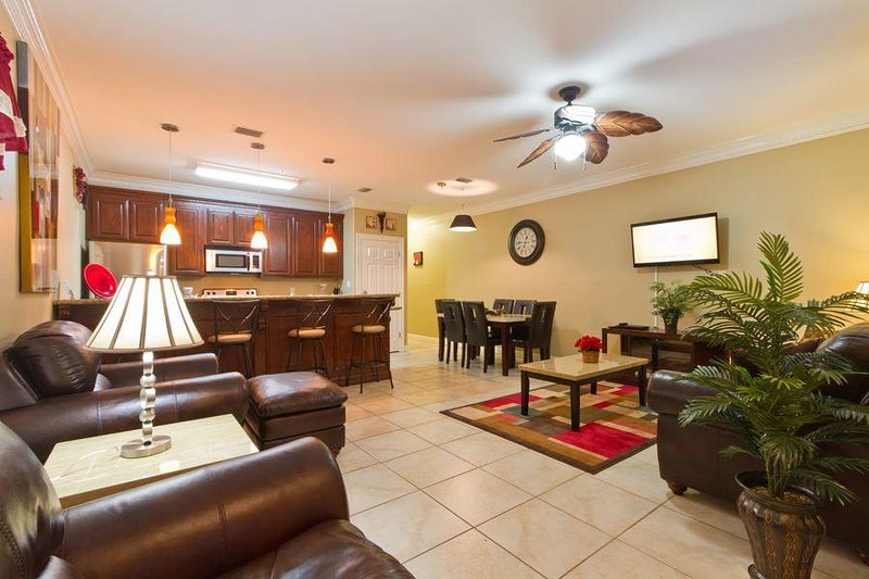 Our living area is filled with rich colors and comfortable seating. We hope you'll feel right at home here.