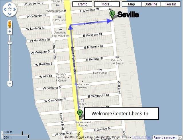 Map from the Welcome Center to Seville