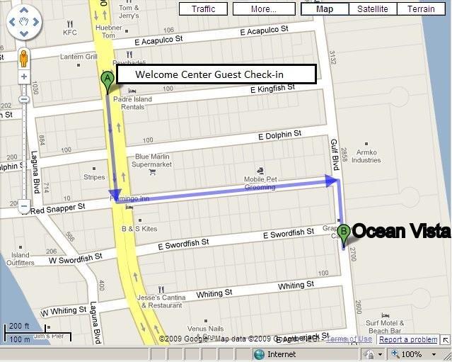 Karta till Ocean Vista från Welcome Center