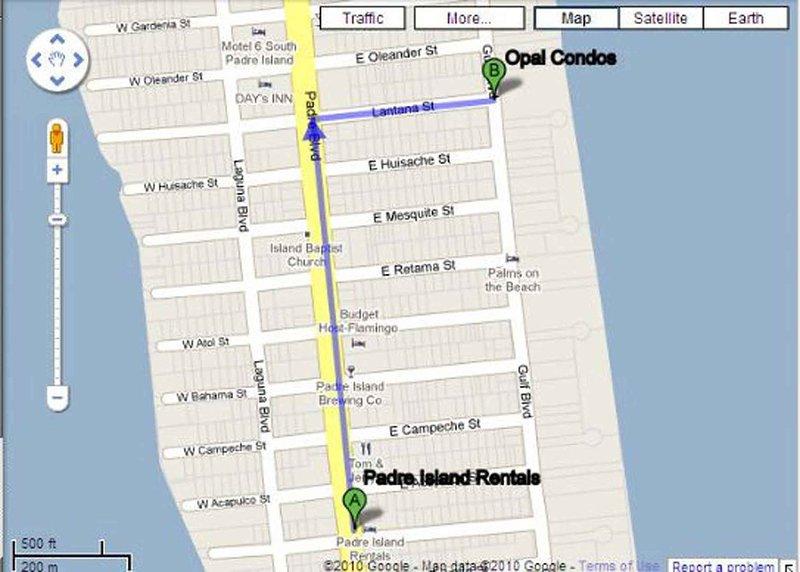 Mapa desde el Centro de Bienvenida a Opal Condominiums