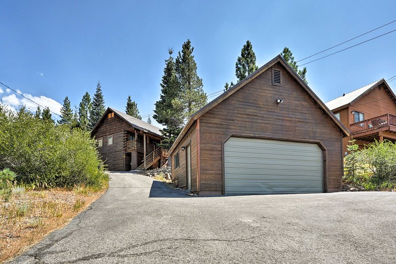 Enjoy mountain valley views from this updated vacation rental cabin in Truckee.