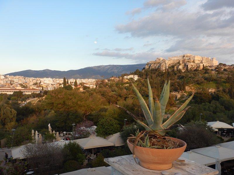 Maravillosa vista desde la terraza lateral. Acrópolis, foro antiguo y ciudad moderna detrás.