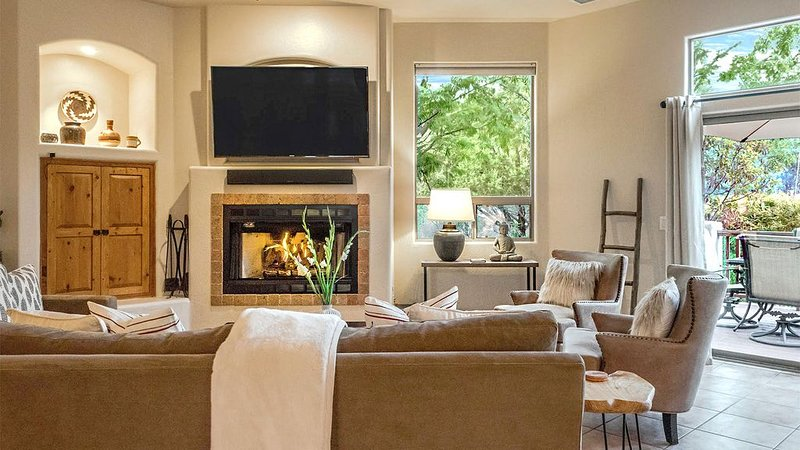 Gather around the easy to use gas fireplace on cool evenings.