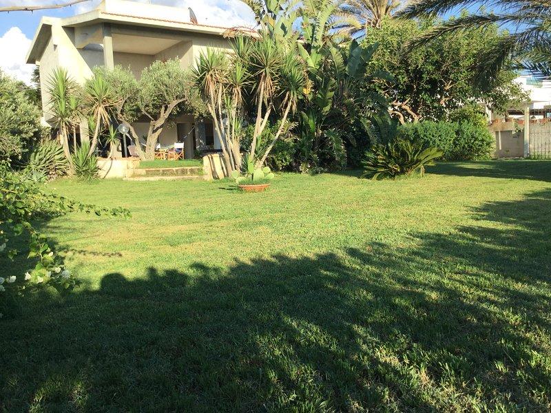 Grand jardin avec pelouse et solarium