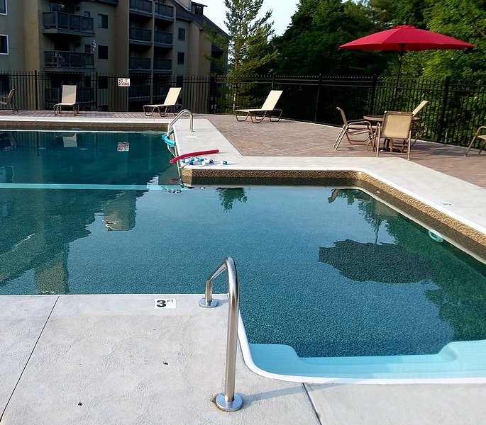 New 2018 outdoor heated pool with barbecue grills and picnic tables