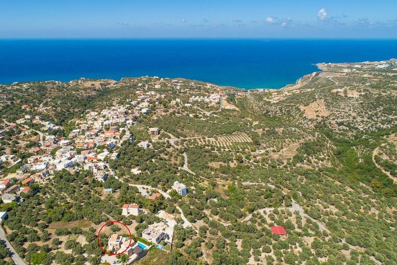 Veduta aerea che mostra la posizione di Villa Olive