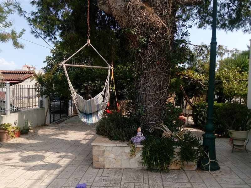 Hanging swings in the courtyard.