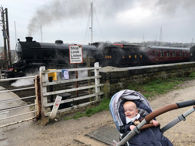 Enjoy the steam trains passing by  from April to October