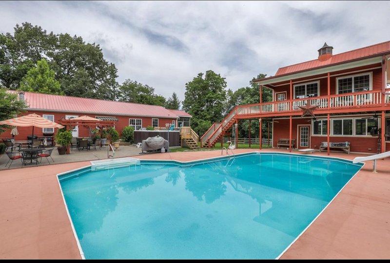 Pool, cabana and home