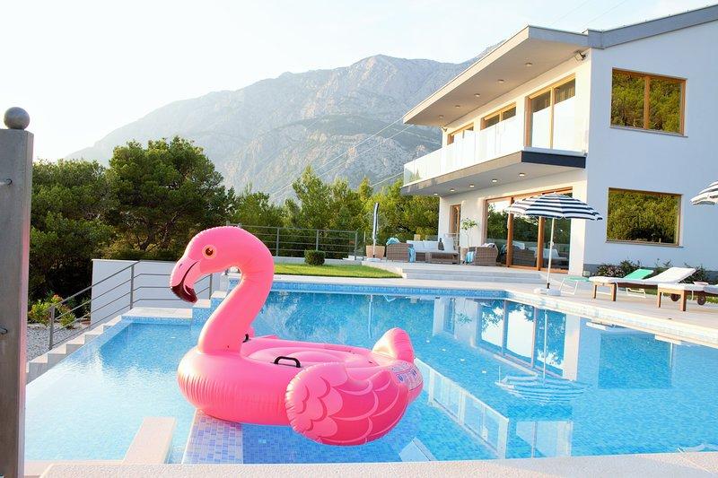 Beautiful Villa Yanko with amazing sea view and great  infinity heated pool, alquiler de vacaciones en Tucepi