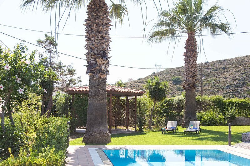 Palm trees, grass and pool create a heavenly scenery!