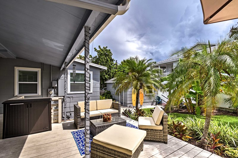 Spend evenings unwinding on this incredible patio.