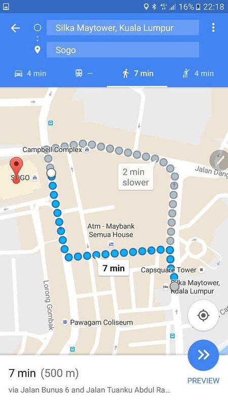 7 min walk to Sogo Shopping Mall & Bandaraya LRT Station.
