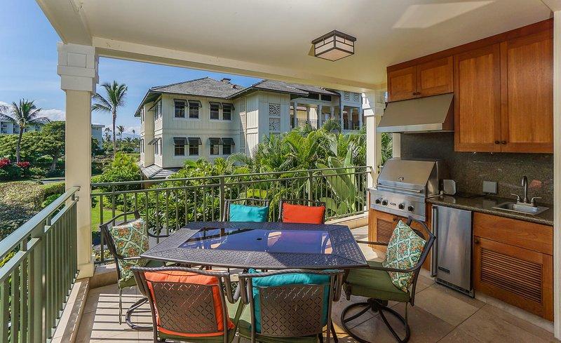 Kolea 16E en el Waikoloa Beach Resort - Lanai, asientos y cocina
