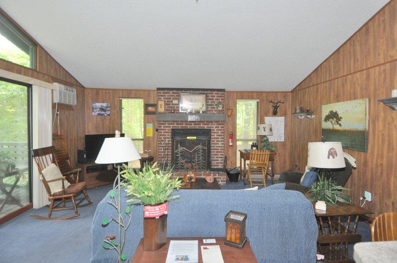 Reúna-se na sala de estar e assista TV em frente à lareira!