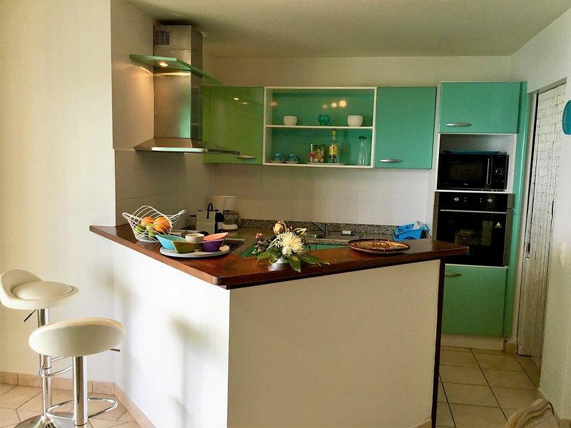 Cocina abierta, equipada con vitrocerámica, horno, microondas, cápsulas de café, tostadora ...