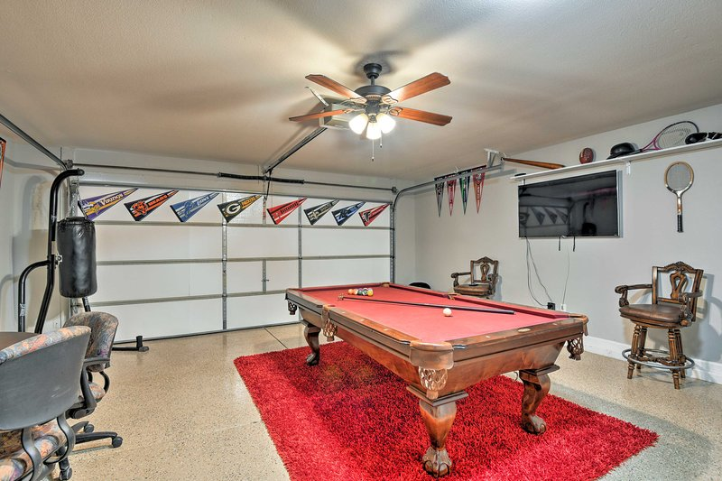 This lovely house includes a spacious garage game room for you to enjoy.