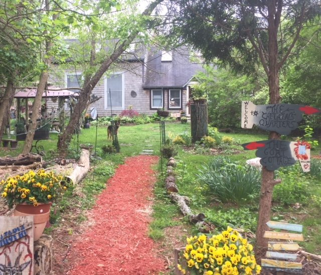 The goat cottage pathway, garden, gazebo, goat trail