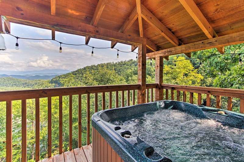 Soak in the private hot tub after a day of hiking!