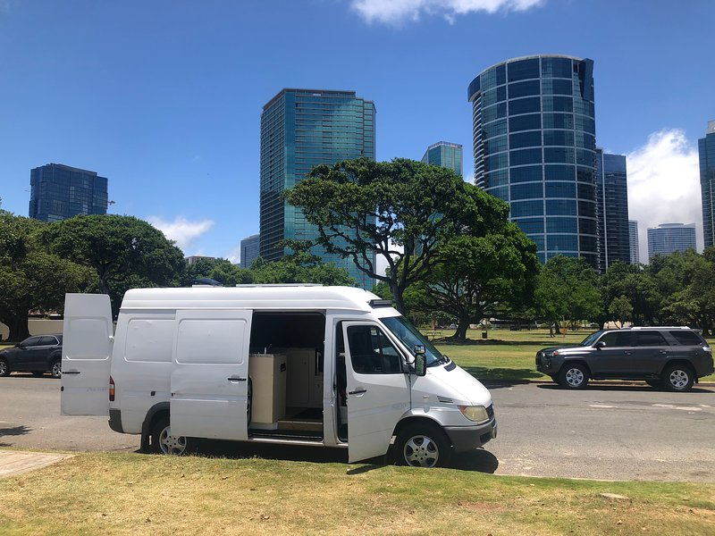Ala Moana beach park. Great spot hang out all day right on the beach. No camping here but good 10 pm