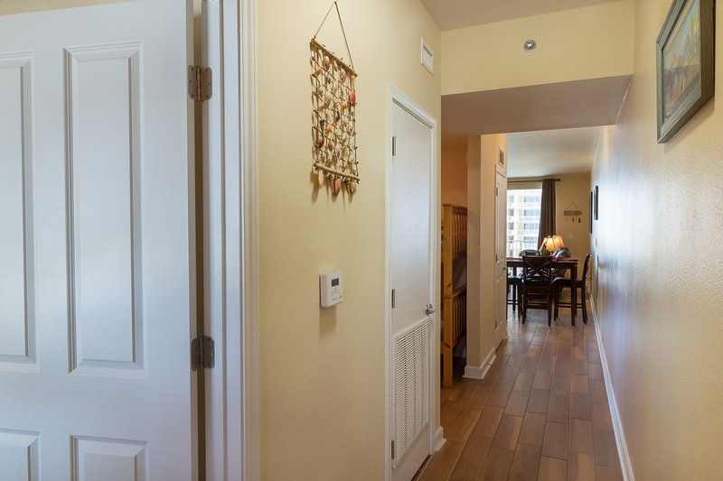 Entryway hallway with master bedroom to the left when you walk in