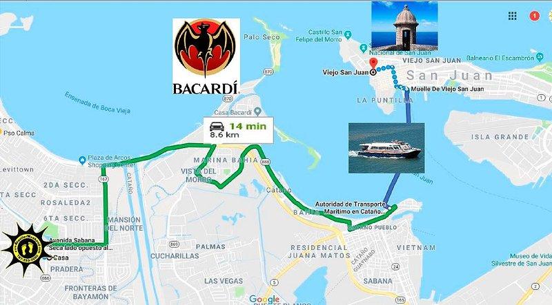 Nous sommes à 14 minutes du ferry pour aller au vieux San Juan et à 5 minutes de Bacardi