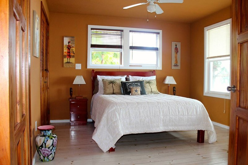 Lower queen bedroom with entrance to main bath, ceiling fan and ocean views
