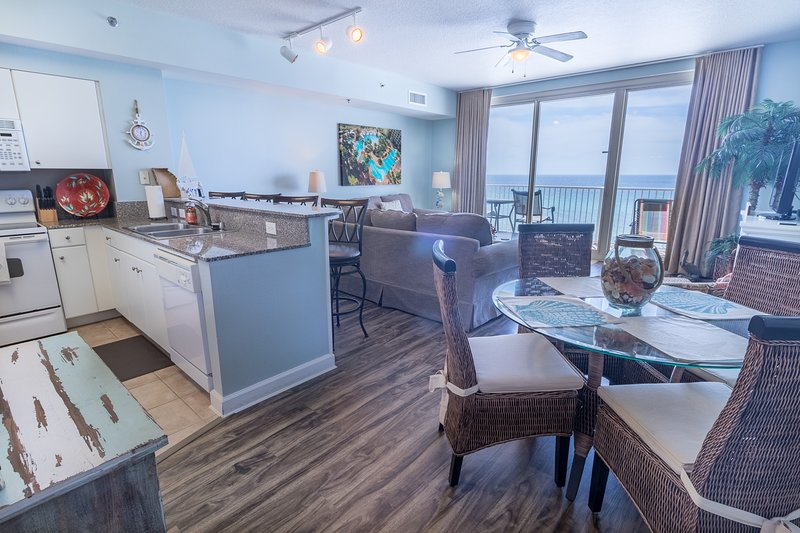 Shores of Panama 630, end unit with beach front view