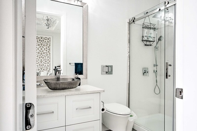 This bathroom has a walk-in shower.