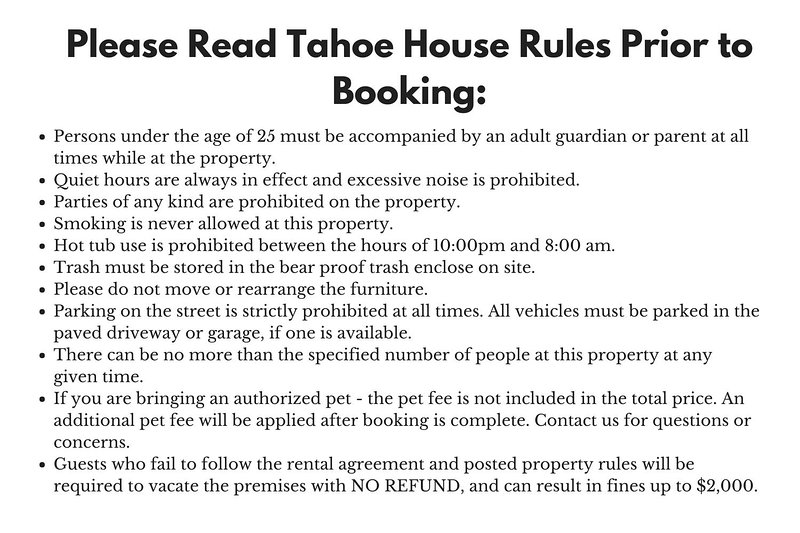 The Grizzly - Please Read Tahoe House Rules Before Booking