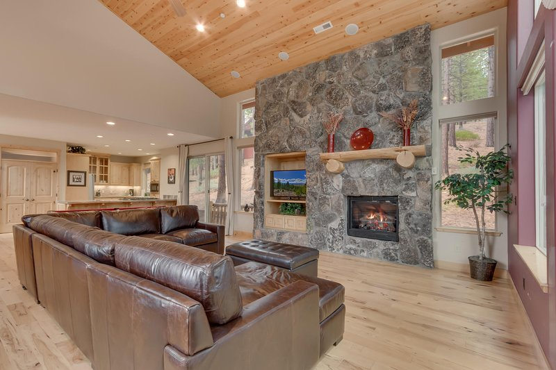 Evergreen Estate - Living room with fireplace and TV
