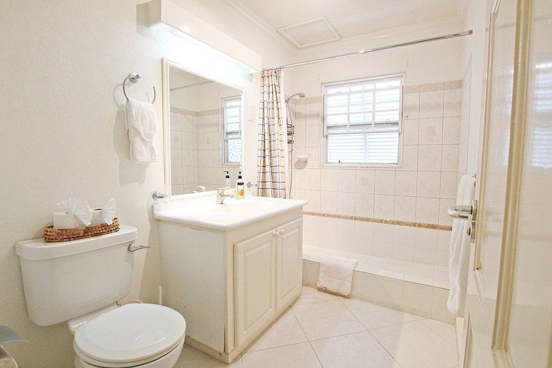O banheiro adjacente tem uma banheira e chuveiro