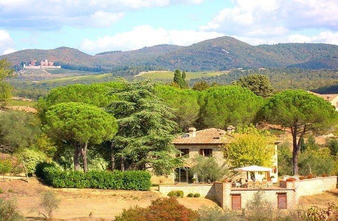 The Villa and view of Brolio Castle of Ricasoli Baron