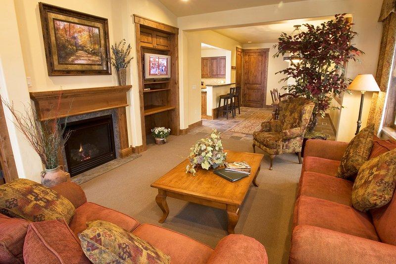Asseyez-vous dans le salon confortable avec une cheminée à gaz.
