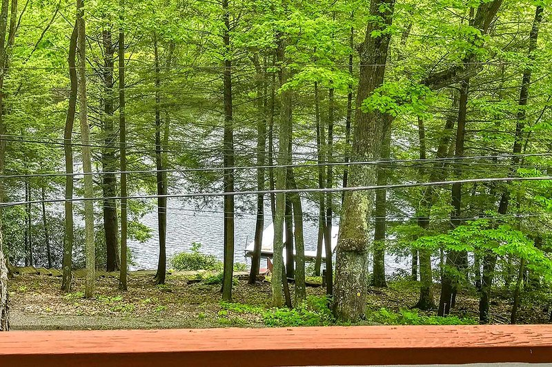 View of the lake from upper level deck