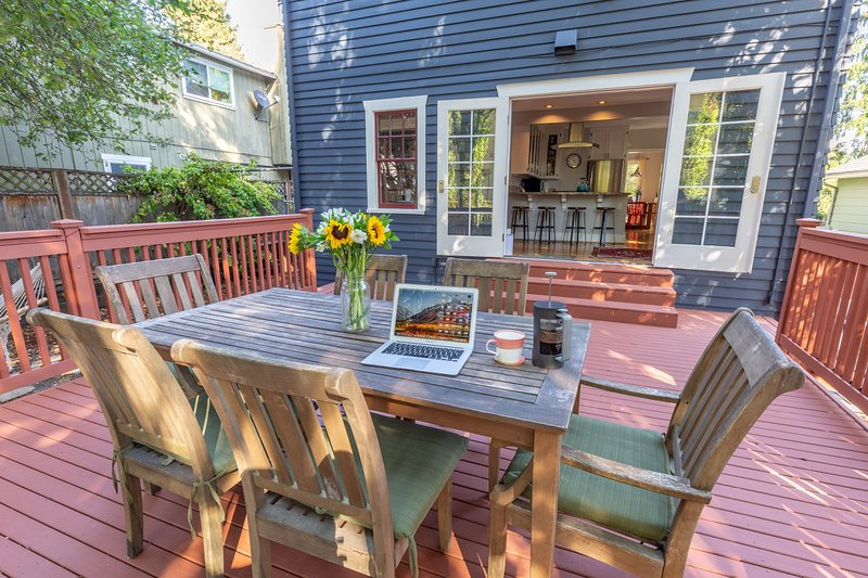 Large private back deck
