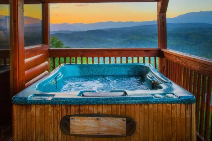Relax in the hot tub while enjoying the view.