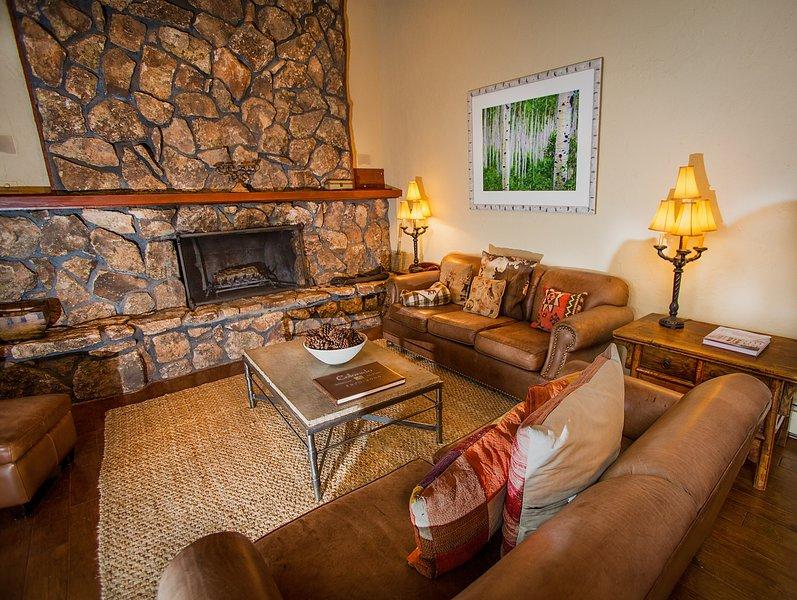 Den con 3 sofás que rodean la chimenea de leña. ¡No te olvides de los S'Mores!