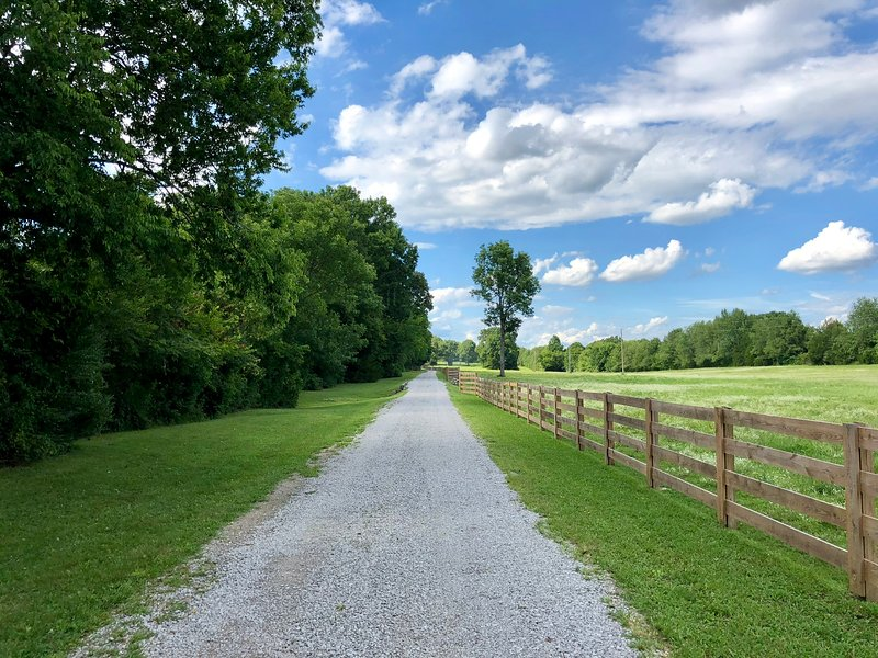 Das Paradies betreten, während Sie die Laneway zur Ranch hinunter gehen