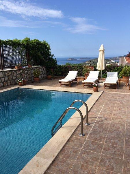 Amplia terraza de la piscina