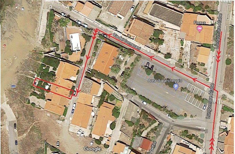 Itinéraire sur Google Maps: Lungomare Porto Alabe; Via dei Cormorani; Tourner à droite
