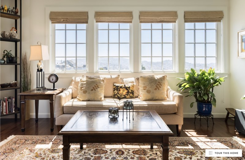 Gracious living room with view of Twin Peaks