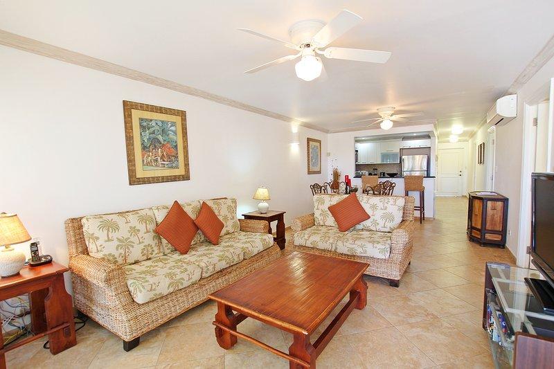 La spaziosa e luminosa zona giorno a pianta aperta ha comodi divani di fronte alla TV via cavo e aria condizionata