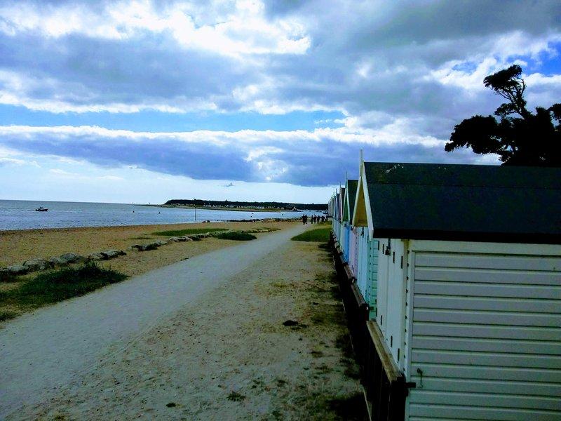 Beach huts, by Sandhills, on Avon Beach