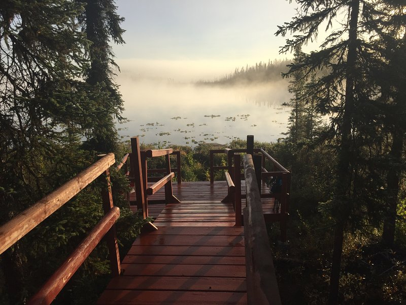 The boardwalk down to our private lake in the early morning fog. Beautiful!